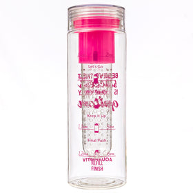 """Believe that Success"" AquaMotiv Inspirational Quote Water Bottle with Tracker (Pink)"