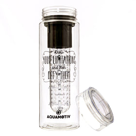 """Defy"" AquaMotiv Inspirational Quote Water Bottle with Tracker (Black)"