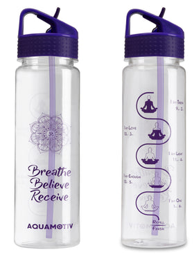 30 oz Angle Flip-n-Flow Straw Inspirational Quote Water Bottle with Motivational Time Tracker | BPA-Free Fitness Sports Bottles (Purple)