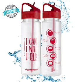 30 oz Angle Flip-n-Flow Straw Inspirational Quote Water Bottle with Motivational Time Tracker (Red)