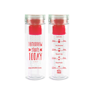 """Tomorrow"" AquaMotiv Inspirational Quote Water Bottle with Tracker (Red)"