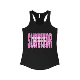She Believe She Could so She Did - Breast Cancer Survivor - Racerback Tank