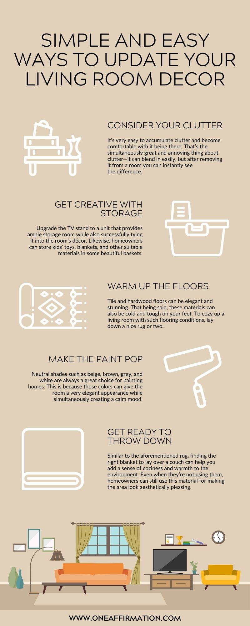 Simple and Easy Ways To Update Your Living Room Decor
