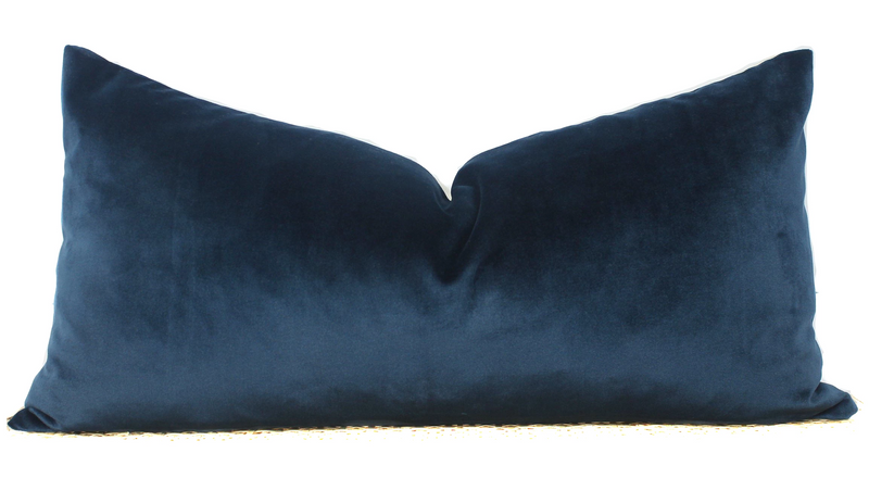 Blue Velvet Pillow | Velvet Lumbar | 12x24 | No1184