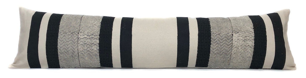 Black and Cream Stripe Pillow Cover | Designer Pillow | 12x48