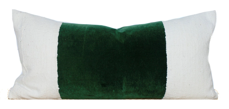 Green Velvet Pillow | Velvet Lumbar | 12x24 | No455