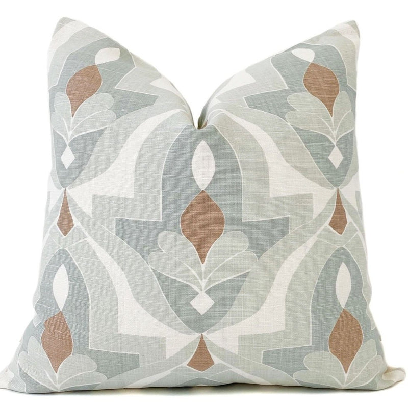 Andalusia Designer Pillow Cover in Light Green, Cream, and Rust