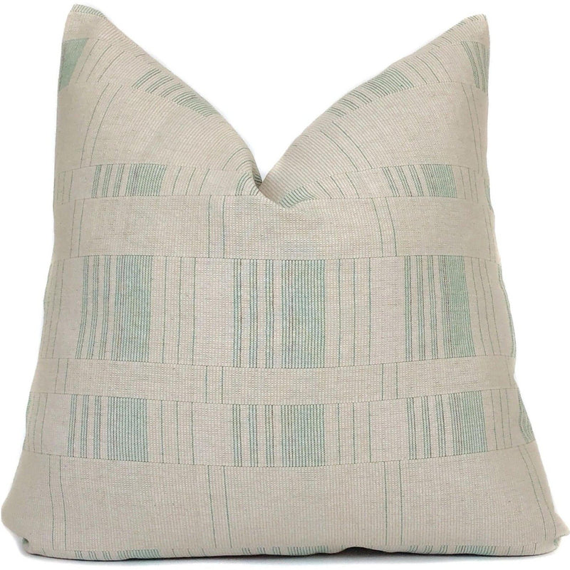 Vintage Beige and Green Pillow Cover | No9