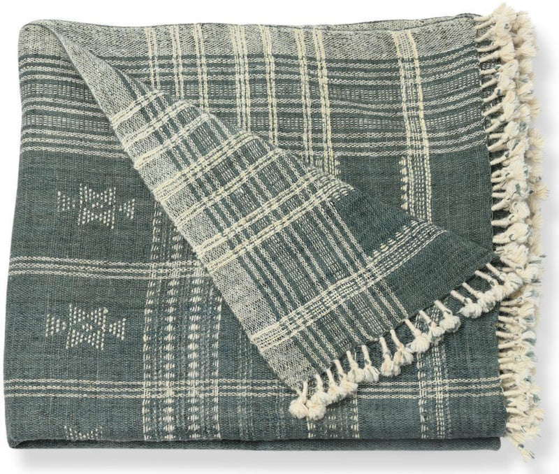Indian Wool Throw Blanket in Slate