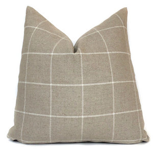 Rustic Woven Windowpane Pillow Cover | Beige and Cream | No9024