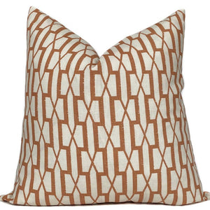 Belvedere Designer Pillow Cover in Burnt Orange