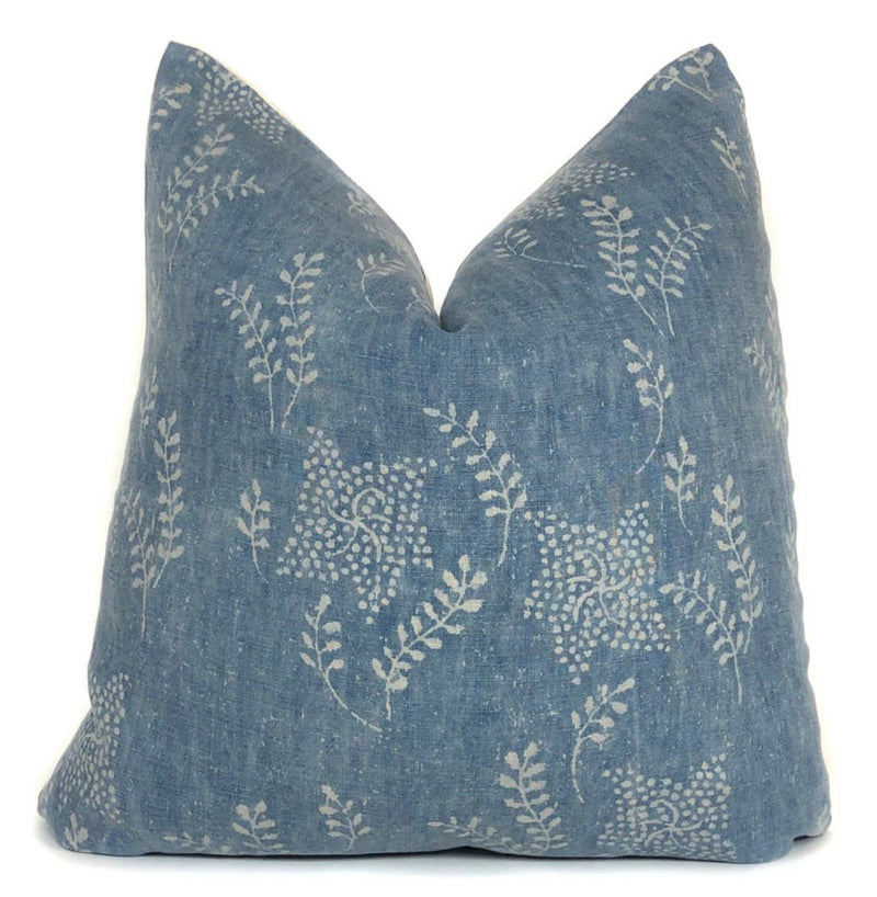 Vintage Blue Floral Designer Pillow Cover