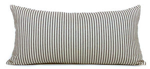 Blue + Cream Striped Lumbar Pillow Cover | 12x24 | No8029