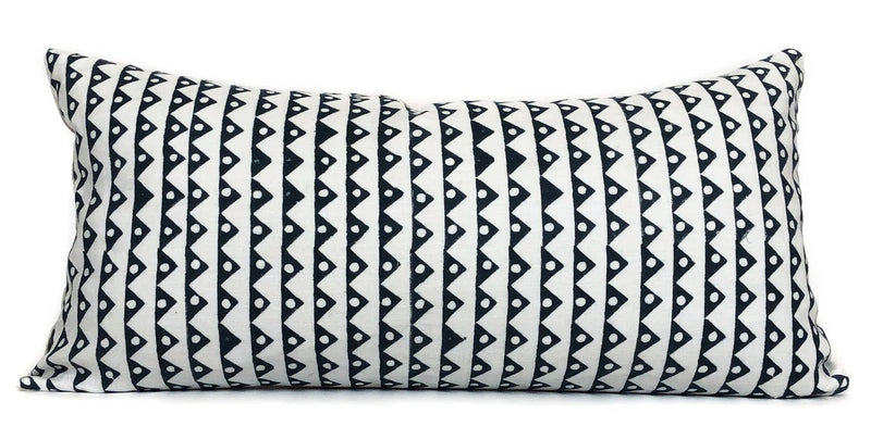 Geometric Lumbar Pillow Cover | Blue and White | Designer Pillow | No4053