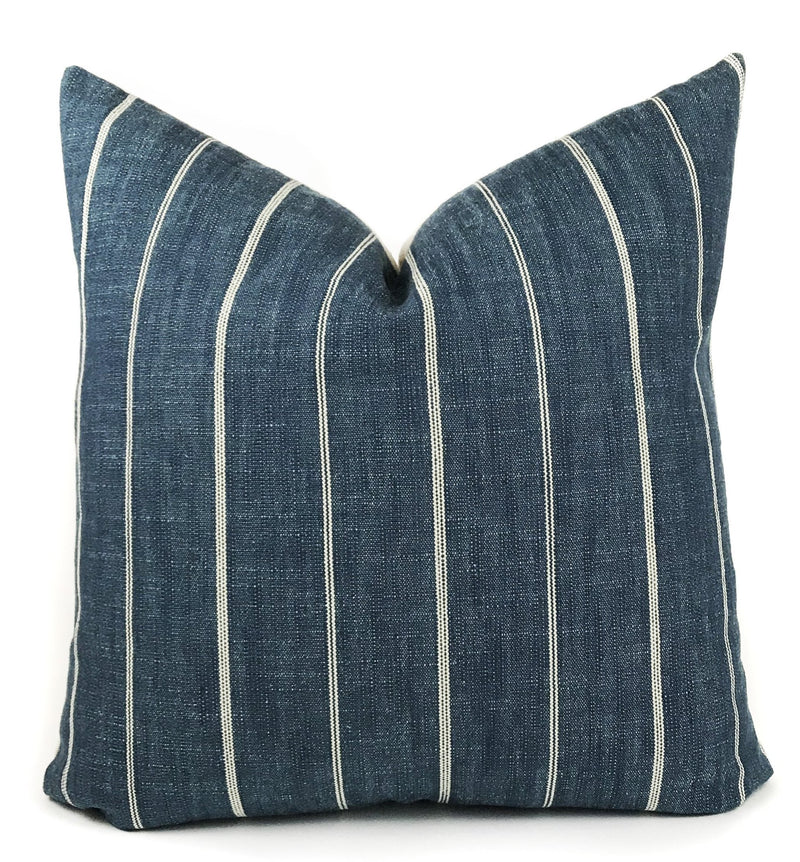 Blue and Cream Stripe Pillow Cover | Designer Pillow | Modern Farmhouse | No405x