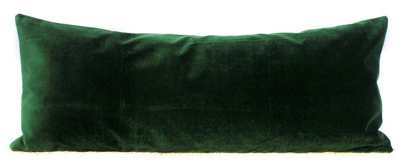 Green Velvet Lumbar Pillow Cover | Velvet Lumbar | 14x36 | No452