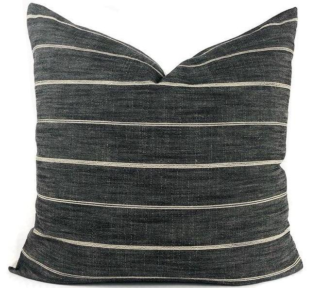 Dark Grey Stripe Pillow Cover | Designer Pillow | No303