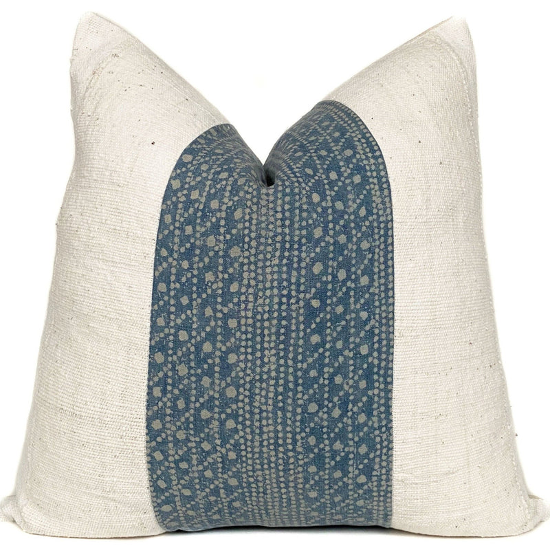Blue Batik and Cream Mudcloth Designer Pillow Cover | NoRTBBM