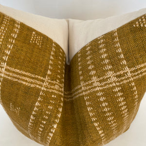 Indian Wool Mustard Pillow Cover | Stripes Top | NoIWMNF