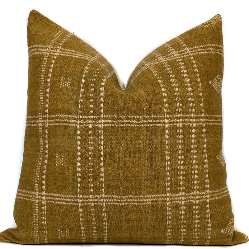 Indian Wool Pillow Cover in Mustard