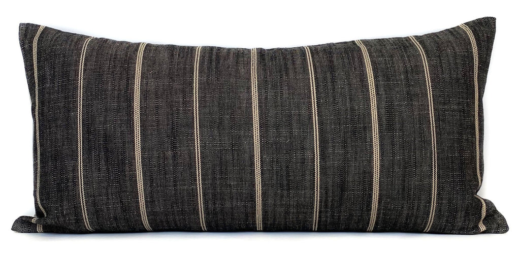 Dark Grey Striped Lumbar Pillow Cover | No1190