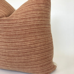 Vintage Rust + Cream Stripe Pillow Cover | Designer Pillow | No5001