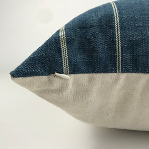 Blue and Cream Stripe Pillow Cover | No405x