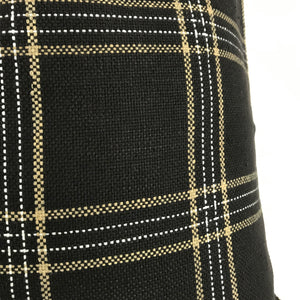 KUFRI Dundee Pillow Cover in Jet | Black White and Tan Plaid Pillow