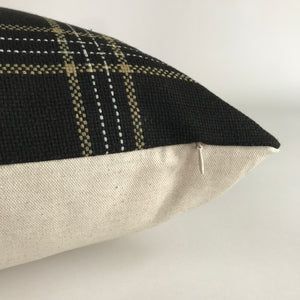 Dundee Pillow Cover | Black White and Tan Plaid Pillow