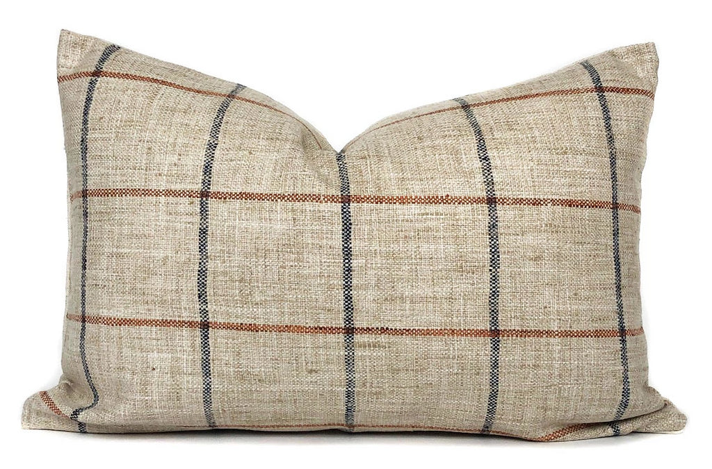 Rustic Woven Windowpane Pillow Cover | Plaid | Blue and Rust | No6010