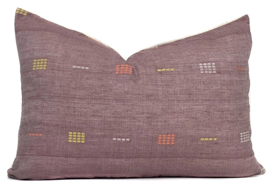 Purple Khadi Pillow Cover | Boho Pillow | 14x20 | No6080