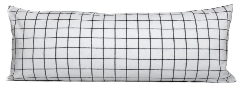 White + Black Windowpane Pillow Cover | No6011
