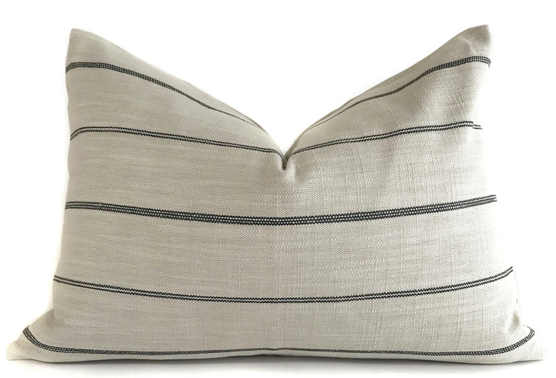 Cream and Black Farmhouse Stripe Pillow Cover | Designer Pillow | Modern Farmhouse
