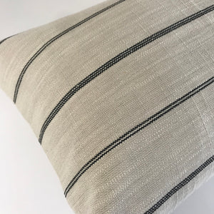 Cream and Black Farmhouse Stripe Pillow Cover | No405xx