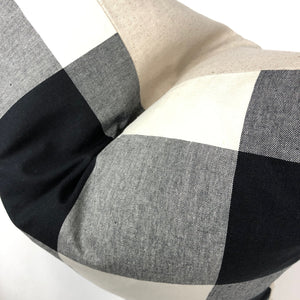 Buffalo Check Pillow Cover | Black Grey and White | No4099