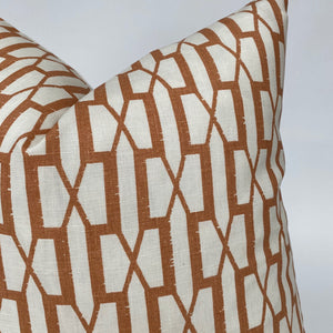 Belvedered Designer Pillow Cover in Burnt Orange