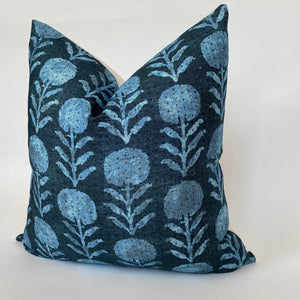 Zinnia Designer Pillow Cover in Indigo