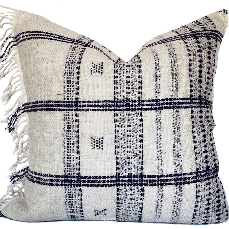Indian Wool Pillow Cover | Fringe Left | NoIWFLC