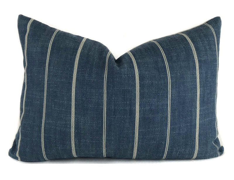 Indigo and Cream Stripe Pillow Cover | Designer Pillow | Modern Farmhouse