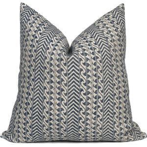 Luxor Designer Pillow Cover in Indigo + Natural