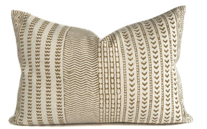 Maya Mustard Lumbar Pillow Cover | Mustard and Cream | 14x20