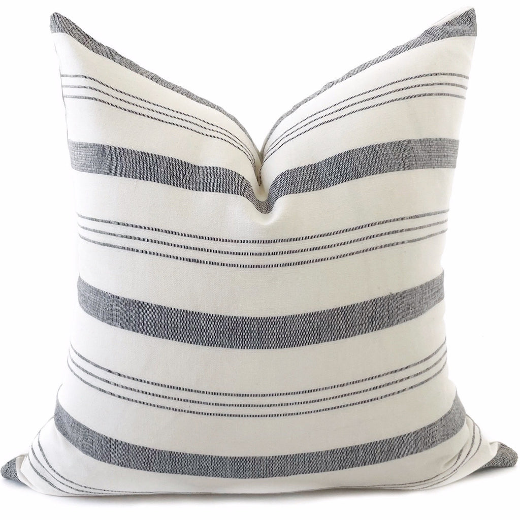 Lima Stripe Pillow Cover | Natural + Black