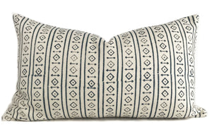 Raga White Pillow Cover | Dark Blue and Cream