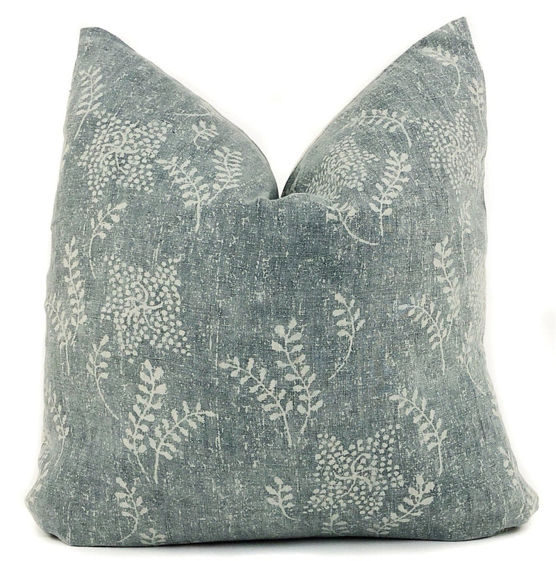 Vintage Floral Pillow Cover | Dark Sage Green