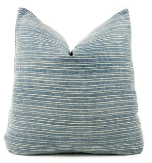 Vintage Blue and White Stripe Pillow Cover