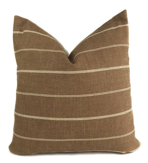 Tobacco and Cream Stripe Pillow Cover | Designer Pillow | No4068