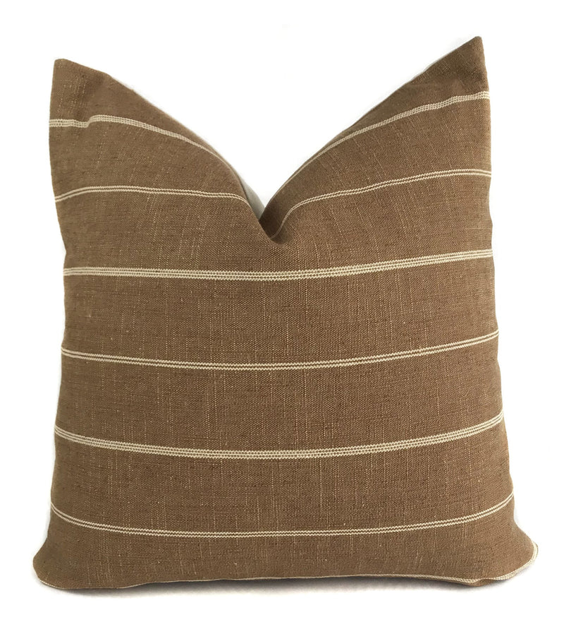Rust Farmhouse Stripe Pillow Cover | Designer Pillow | No4068