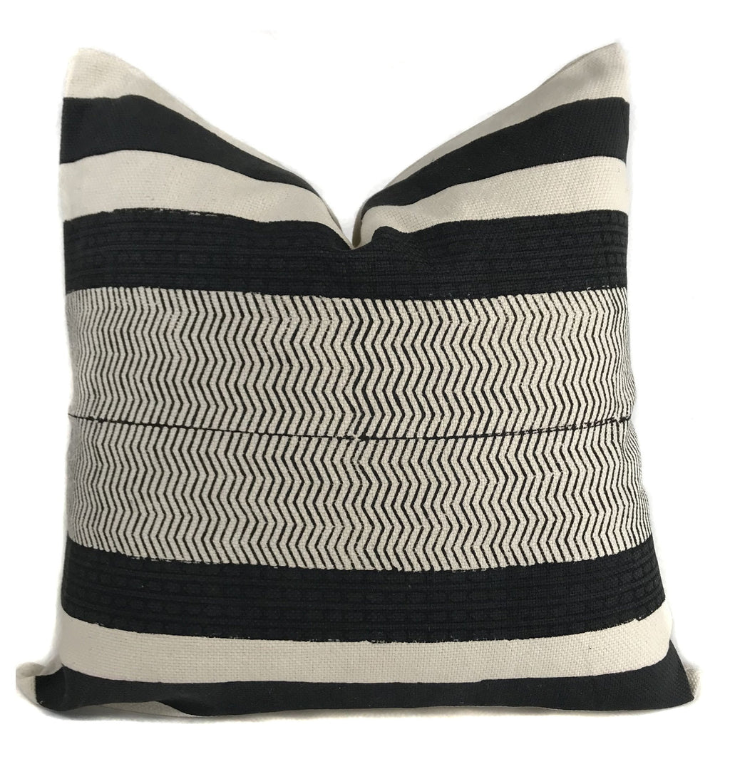 Black and Cream Stripe Pillow Cover | No4010