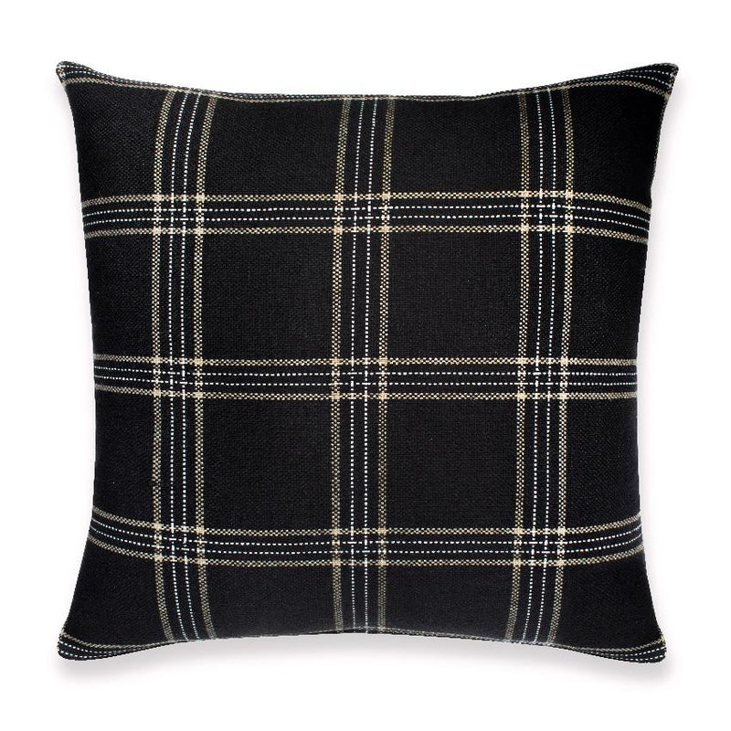 KUFRI Dundee Pillow Cover | Black White and Tan Plaid Pillow