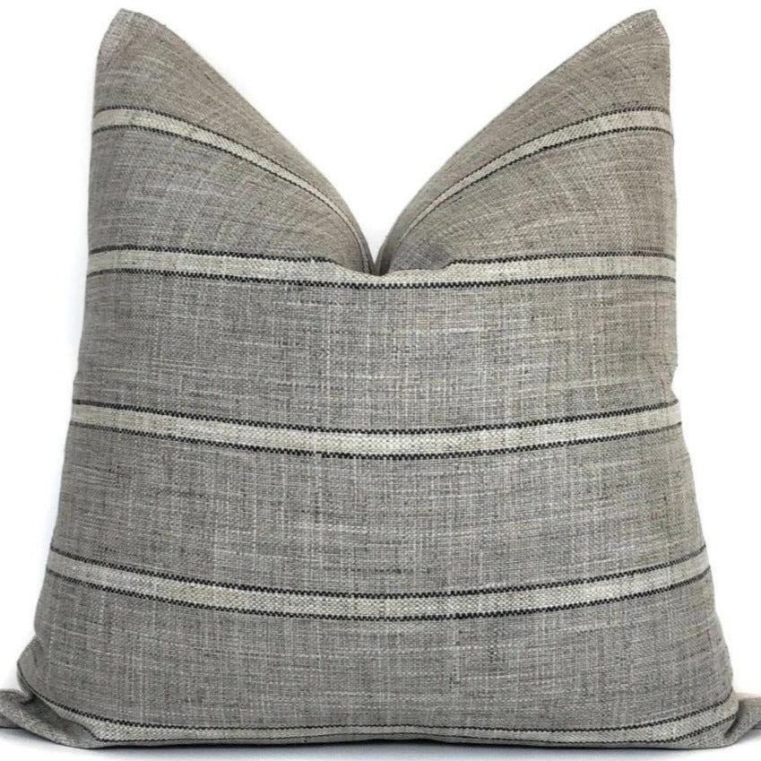 Grey, Black, and Cream Stripe Pillow Cover | Farmhouse Modern | No9023